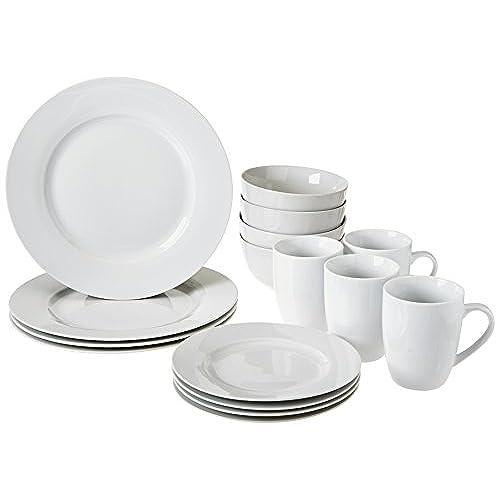 AmazonBasics 16-Piece Dinnerware Set Service for 4  sc 1 st  Amazon.com & Dinner Plates Bowls Mugs: Amazon.com