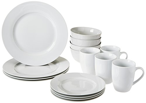 (AmazonBasics 16-Piece Kitchen Dinnerware Set, Plates, Bowls, Mugs, Service for 4, White)