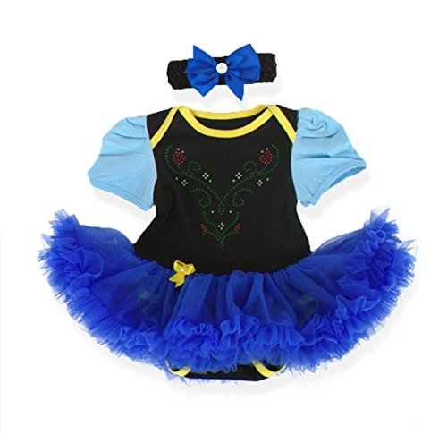 v28 Baby's All in 1 Fancy Dress Halloween Christmas Princess Party Romper Suits (M (3-6 Months), PrncsAnna-Blue) -