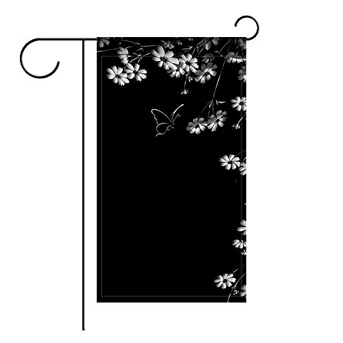 Ant88 Garden Flag Butterfly Flower Black Background 12x18 inches(Without Flagpole) (Petersburg Linen)