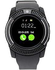 ساعة سمارت بسوار سيليكون متوافقة مع اجهزة اندرويد، اسود - V8