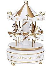 Verjaardagscadeau voor kunstharscarrousel, carrouselmuziekdoos, kerst voor kinderen voor meisjes(white)