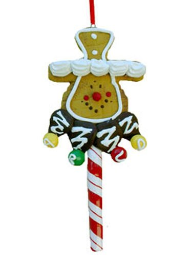 Cookie Cane Stick Gingerbread Man in a Stove-Pipe Hat Ornaments [3097231A] (Northstar Ornament)