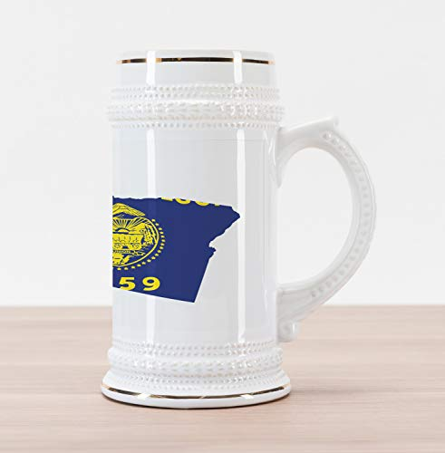 Lunarable Oregon Beer Stein Mug, Map and Waving Flag of US State Beaver State Heart Shape Shield The Union, Traditional Style Decorative Printed Ceramic Large Beer Mug Stein, Cobalt Mustard White