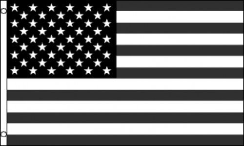 3x5 Foot Polyester Black and White American Flag Recession USA -