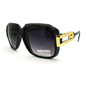 Hip Hop Rapper Sunglasses Oversized Square Retro Hipster Shades Black Gold