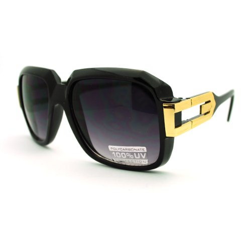 Hip Hop Rapper Sunglasses Oversized Square Retro Hipster Shades Black Gold (Hipster-mode-shop)