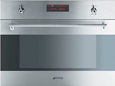 "Smeg SU45MCX 24"" Classic Series Single Electric Speed Wall Oven with 1.2 cu. ft. True European Convection 1 000 Watt Microwave 10 Cooking Modes and Digital LED Display in Stainless"