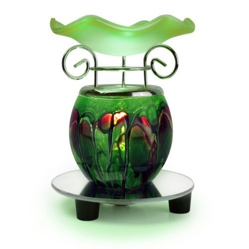 Electric Candle and Oil Warmer OBI Marble Decorative Ceramic Tart Warmer Green Oil Warmer Set of Dish and Burner Easy Plug in Feature