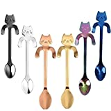 Eshylala 6 Pieces Mini Cat Stainless Steel Coffee Spoon Cat Tea Coffee Ice Cream Spoon Teaspoon Tea Soup Sugar Dessert Appetizer Seasoning Bistro Spoon, Hanging Cup Spoon Kitchen Gadget (6 colors)