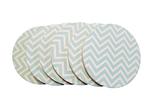 Coasters for drinks, absorbent stone, ceramic, cork back, cup holders, blue and white chevron design, round, 4 inch (Set of 6)