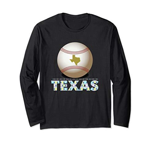 Texas Baseball Tshirt Bright Font and Giant Ranger Ball Long Sleeve T-Shirt