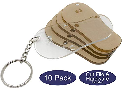 Acrylic Flip Flops 10 Pack with Hardware and Cut Files for Custom Keychains | Acrylic Keychain Blanks | 1/8in Cast Acrylic | Made in the USA by My Local Maker