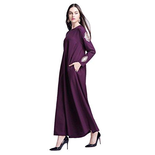 Colore Donne Plus Lunga Abito Islamico Vestito Musulmane Size da di Medio Donna Casual Stampa Porpora Puro Gonna Abito Oriente ASHOP Donna Estate OaqFggpc4