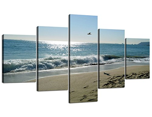 Beach Piece Set 5 (Beach Wave Ocean Painting on Canvas 5 Piece Combination Wall Art Modern Landscape Scenery Posters and Prints Pictures for Living Room Bedroom Gallery-wrapped Canvas Art Set Framed (70''W x 40''H))
