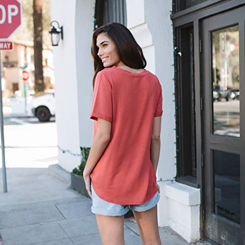 Amaryllis Apparel Women's Casual Roll Sleeve Boyfriend Tee T-Shirt Tunic Top