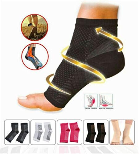 Vita-Wear Copper Infused Magnetic Foot Support Compression Sock, Recovery Foot Sleeves, Ankle Plantar Fasciitis Support Socks Relieve Pain 5 Pairs (Rose, S/M)