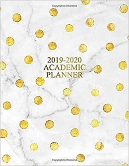 Academic Planner 2019-2020: Golden Polka Dots & Marble ...