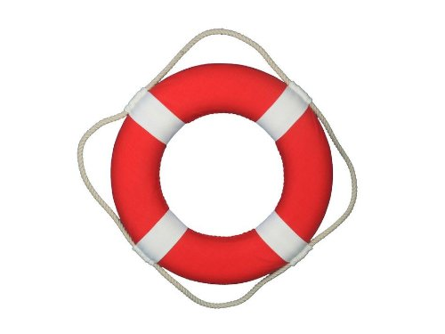(Hampton Nautical Decorative Vibrant Red Lifering with White Bands, 15)
