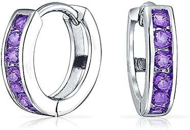 Bling Jewelry Silver Simulated Amethyst CZ Huggie Hoop Earrings