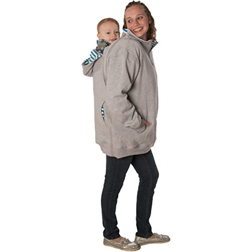 RooCoat Babywearing & Maternity Coat 2.0 Gray with Blue Stripes Medium