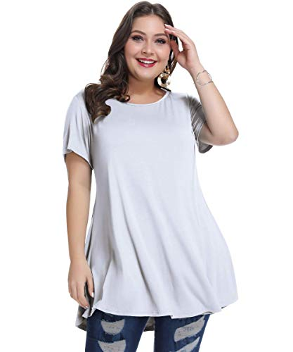 MONNURO Womens Short Sleeve Casual Loose Fit Flare Swing Tunic Tops Basic T-Shirt Plus Size(White,4X)