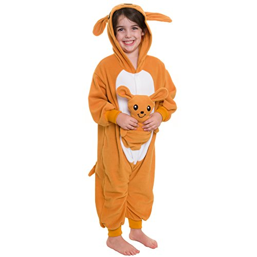 Silver Lilly Kids Kangaroo Animal Costume - Children Plush One Piece Pajamas (Y)