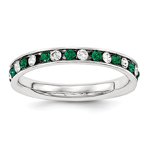 925 Sterling Silver Green White Cubic Zirconia Cz Eternity Wedding Ring Band Size 8.00 Fine Jewelry Gifts For Women For Her