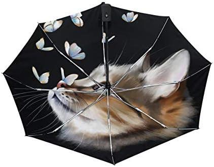 Chovy 折りたたみ傘 軽量 自動開閉 晴雨兼用 レディース 日傘 UVカット 遮光 ワンタッチ メンズ ねこ 猫柄 蝶 黒 ブラック かわいい 可愛い 雨傘 傘 晴雨傘 折り畳み 8本骨 遮熱 丈夫 耐風撥水 収納ポーチ付き プレゼント