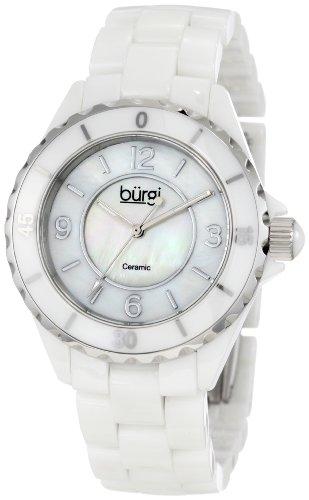 Burgi Women's BU57WT Two-Tone Ceramic Watch with Link Bracelet