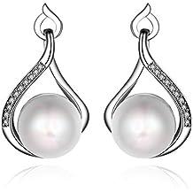 ZARABE 1Pair Teardrop-shaped Earrings Artificial Pearl Diamond Earrings