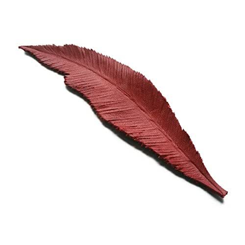 Leather hand made / carved Bookmark Feather (#2) - Red