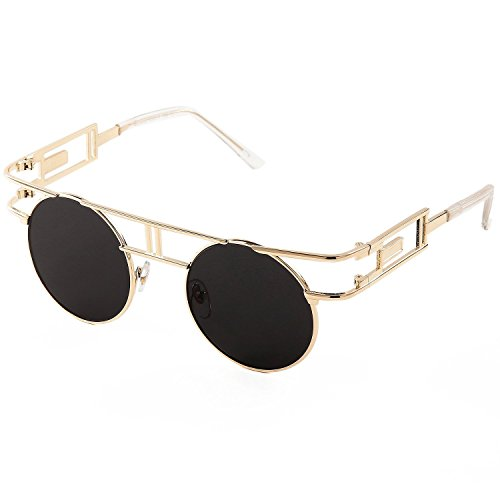 SojoS Retro Vintage Style Gothic Steampunk Flash Mirror Reflective Circle Sunglasses With Gold Frame/Black - Glasses Costco Frames