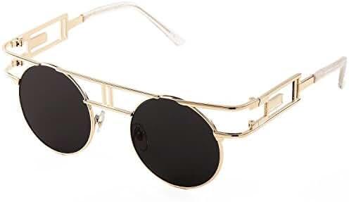 SojoS Retro Vintage Style Gothic Steampunk Flash Mirror Reflective Circle Sunglasses