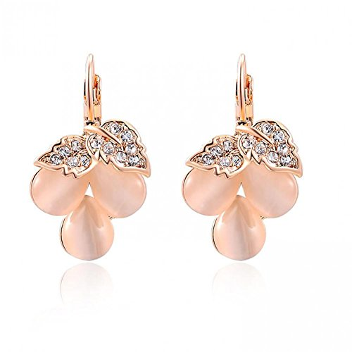 Shiny Moon Womens Ladies Costume Designer Crystal Luxury Jewelry Rose Gold / White Gold Plated Fire Opal Grape Clip Earrings for Wedding