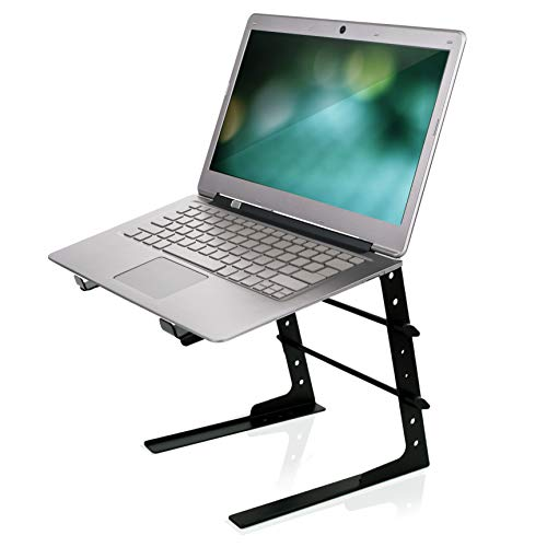 Pyle Portable Adjustable Laptop Stand - 6.3 to 10.9 Inch Anti-Slip Standing Table Monitor or Computer Desk Workstation Riser with Level Height Alignment for DJ, PC, Gaming, Home or Office - PLPTS25 ()