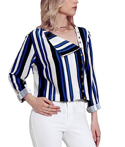 Tops Casual Plus maniche Blu donna con Camicetta Marrone Colore Size righe da FuweiEncore Dimensione Camicetta irregolari a L in chiffon qw7IqP