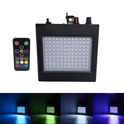Mini Super-Bright RGB 25W 108 LEDs Strobe Light with Manual& Sound Activated Mode & Adjustable Flash Speed Remote Control for Halloween Disco Bar Club Wedding Party KTV Concert Dance Show