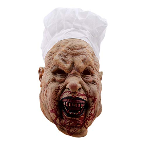 Potelin Premium Halloween Bloody Face Masks Horror Zombie Chef Latex Mask Adults Costume Party -