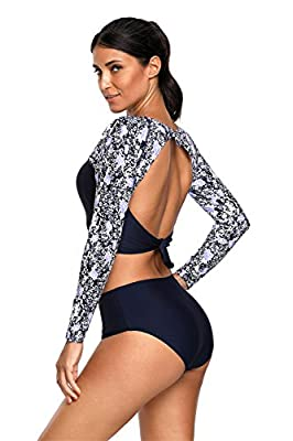 Arctic Cubic 2 PC Long Sleeve Floral Cut Out Back Padded Tankini Cropped Crop Top and Highwaist Bikini Bottom Swimsuit Set