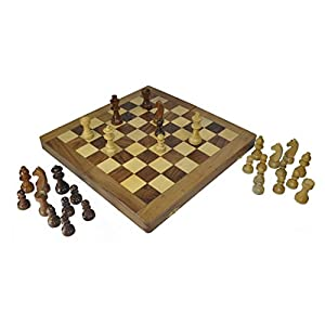 "12"" Folding Staunton Chess Set in Fine Rosewood - Beautiful,Big Elegant Travel Chess Set with Perfect Pieces & Wooden Game Board with Chessmen Storage Slots"