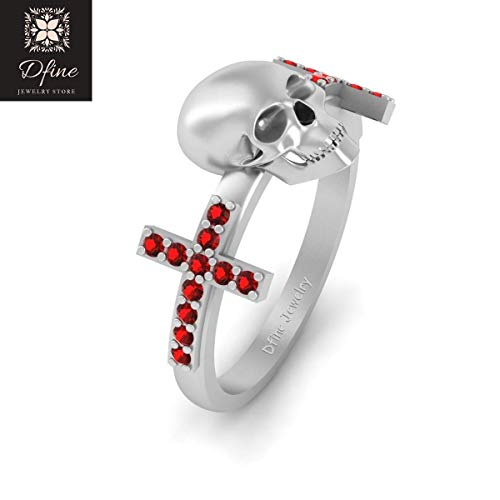 Death's Head Gothic Skull Wedding Ring Womens Solid 14k White Gold Red Diamond Holy Cross Ring Halloween Jewelry ()