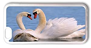 iPhone 6 Cases and Covers, White Swan Couple Sweet Animal Love PC Plastic Hard Case for Apple iPhone 4.7inch Transparent
