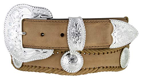 Silver City Western Concho Leather Scalloped Belt Brown 40