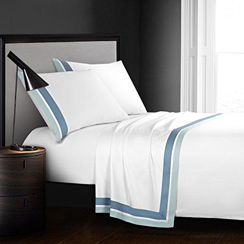 CASA BOLAJ DESIGNED TO DREAM Casabolaj Shading 100% Egyptain Cotton Sateen Sheets Set,Hotel Collection Luxury Modern Style,400 Thread Count(White,King)