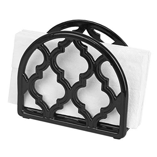 Home Basics NH51101 C Cast Iron Paper Napkin Holder/Freestanding Tissue Dispenser for Kitchen Countertops, Dining, Picnic Table, Indoor & Outdoor Use, Dur, Black