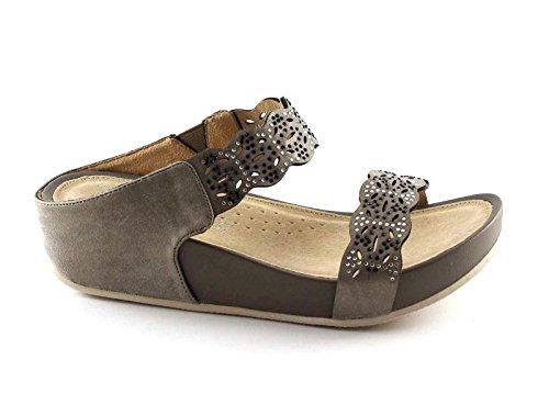 Grünland DIRA CI2115 cuña plomo sandalias de cuero mujer zapatillas de diamantes de imitación Grigio