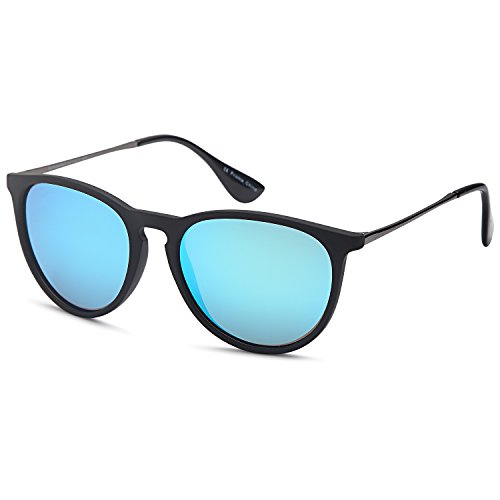 Gamma Ray Polarized Sunglasses for Women - Mirror Blue Lens on Matte Black ()