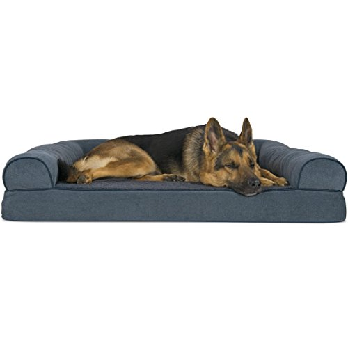 Blue Dog Bed - Furhaven Pet Dog Bed | Orthopedic Faux Fleece & Chenille Sofa-Style Couch Pet Bed for Dogs & Cats, Orion Blue, Jumbo