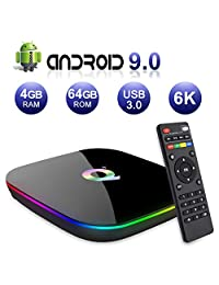 2019 Q Plus Android 8.1 TV Box 4GB RAM 64GB ROM H6 Quadcore Mali T720MP2 WiFi 2.4GHz Soporte 6K H.265 HDMI 2.0 Ethernet RJ 45